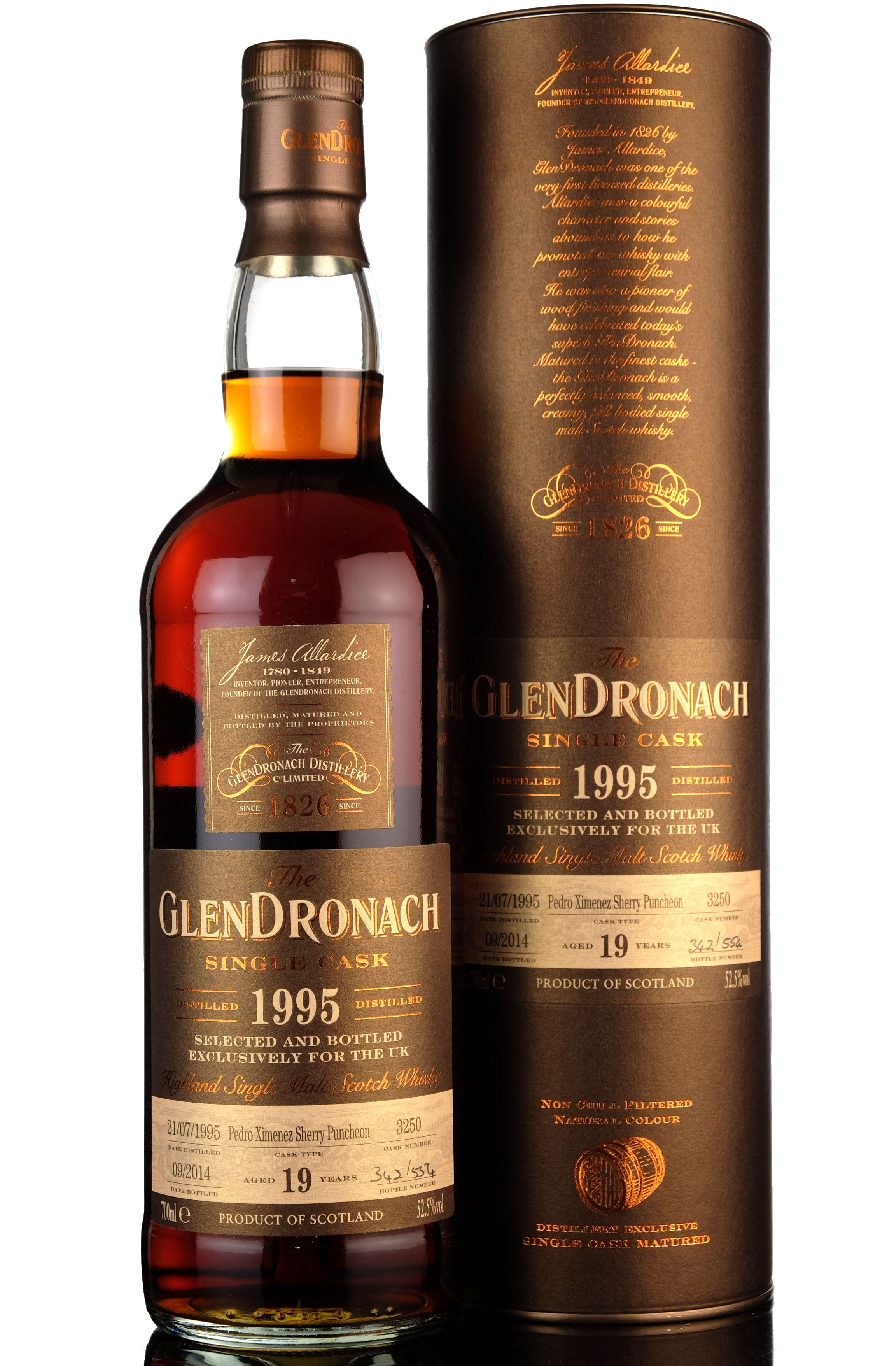 glendronach 1995-2014 - 19 year old - single cask 3250 - uk exclusive