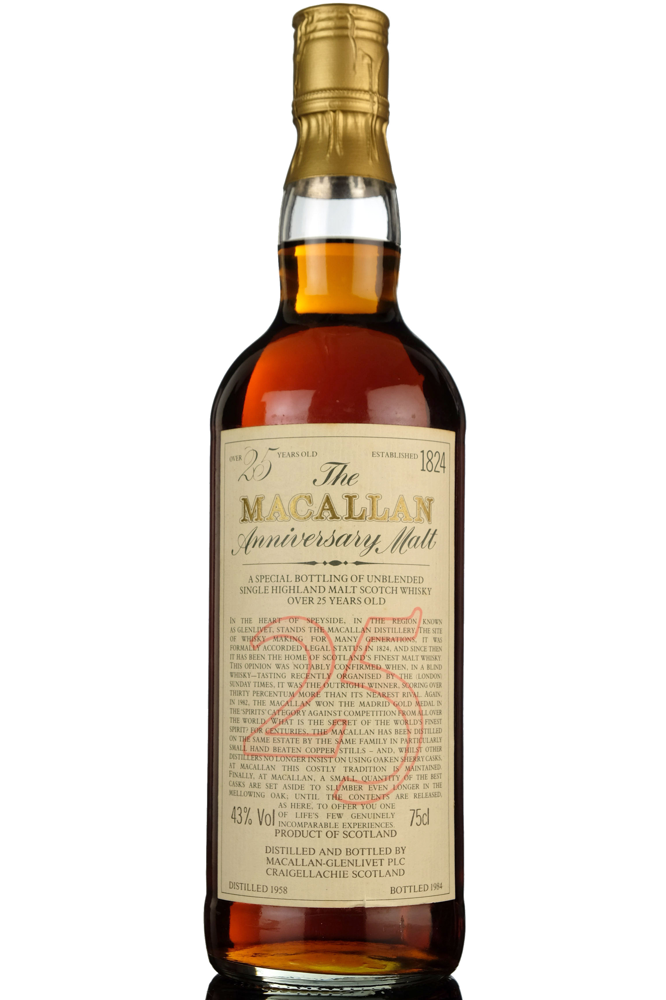 macallan 1958-1984 - 25 year old anniversary malt