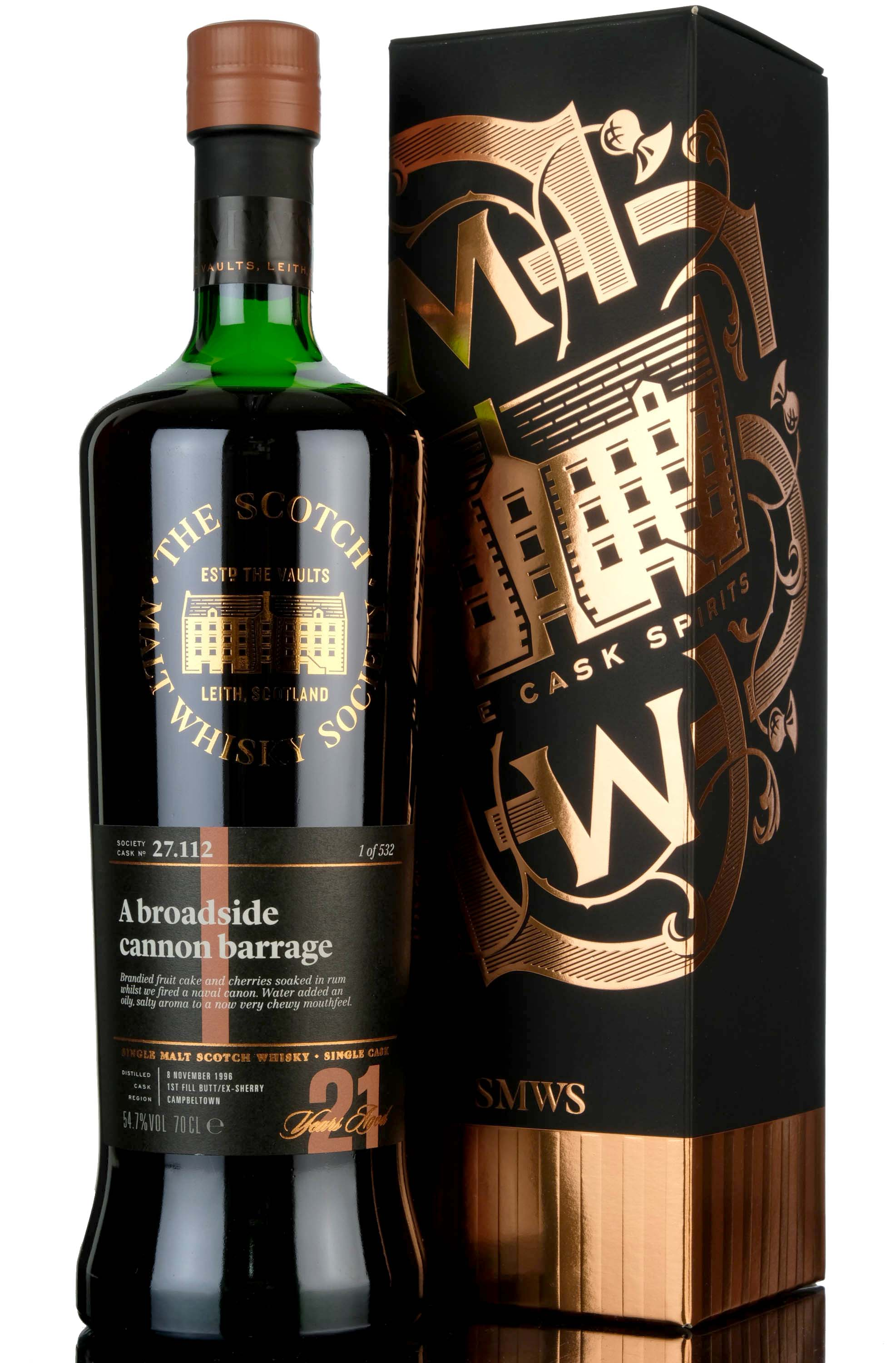 springbank 1996 - 21 year old - smws 27.112 - a broadside cannon barrage