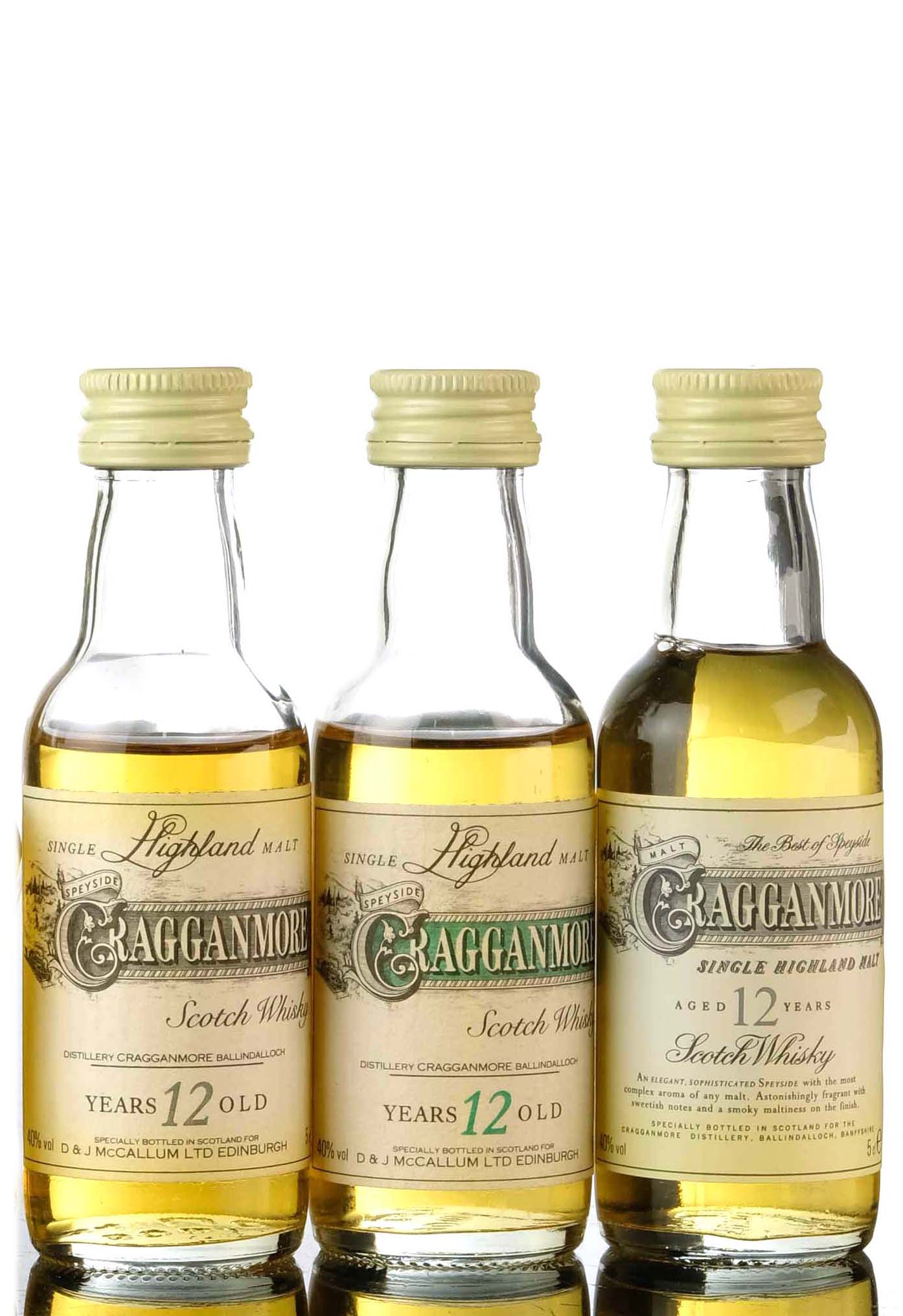 3 x cragganmore 12 year old miniatures
