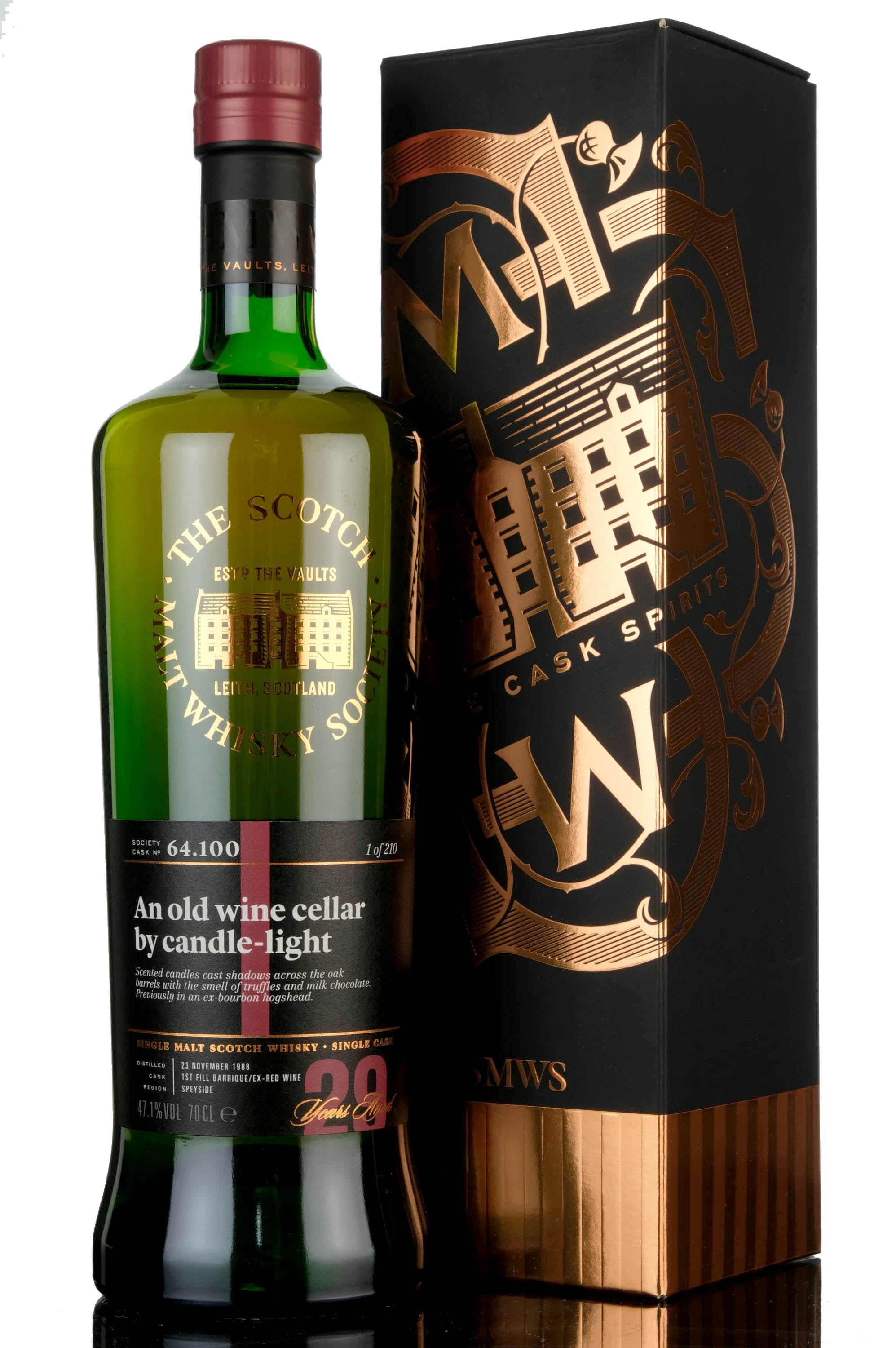 mannochmore 1988 - 29 year old - smws 64.100 - an old wine cellar by candle-light