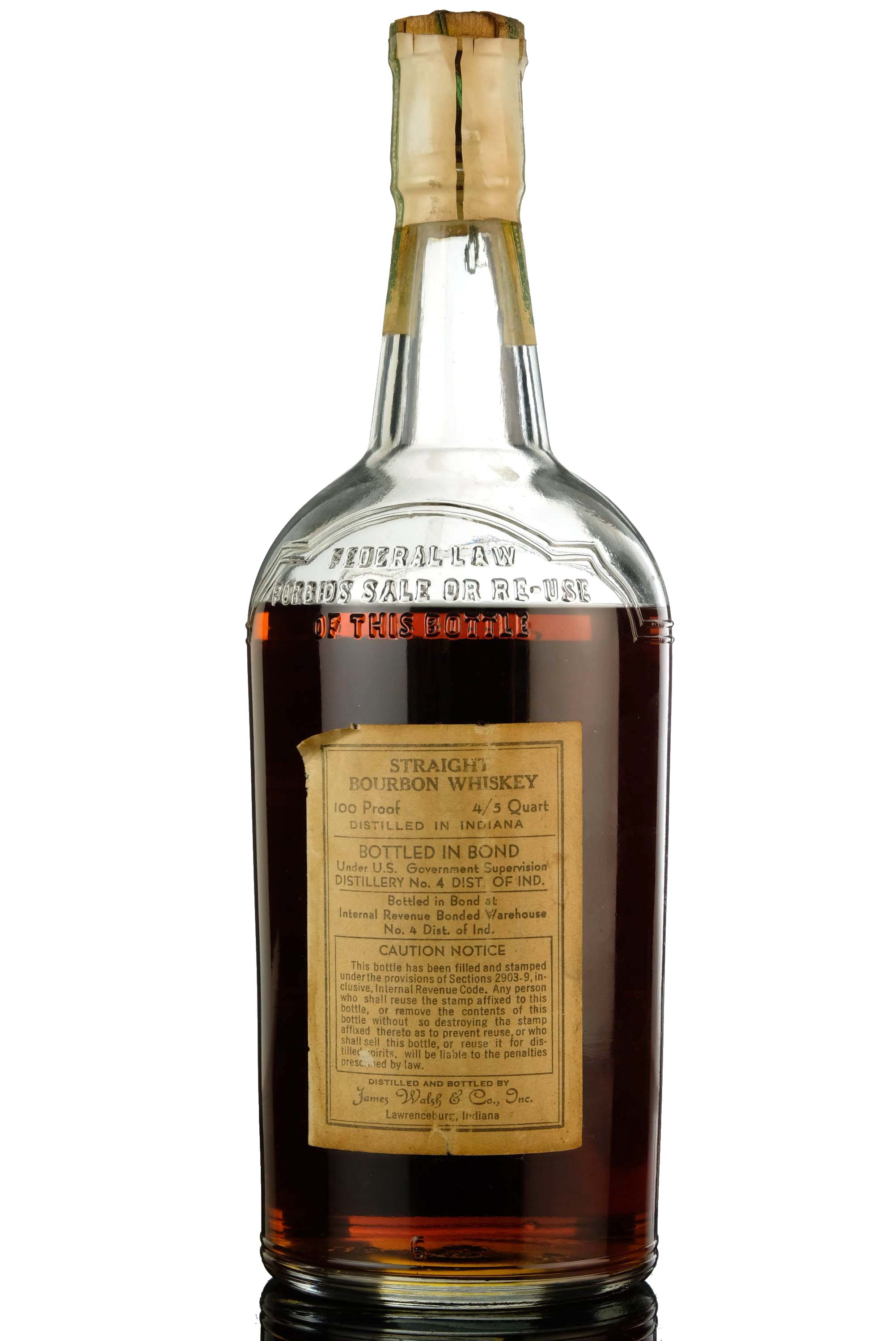 walsh 1936-1940 - straight bourbon whiskey - 100 proof
