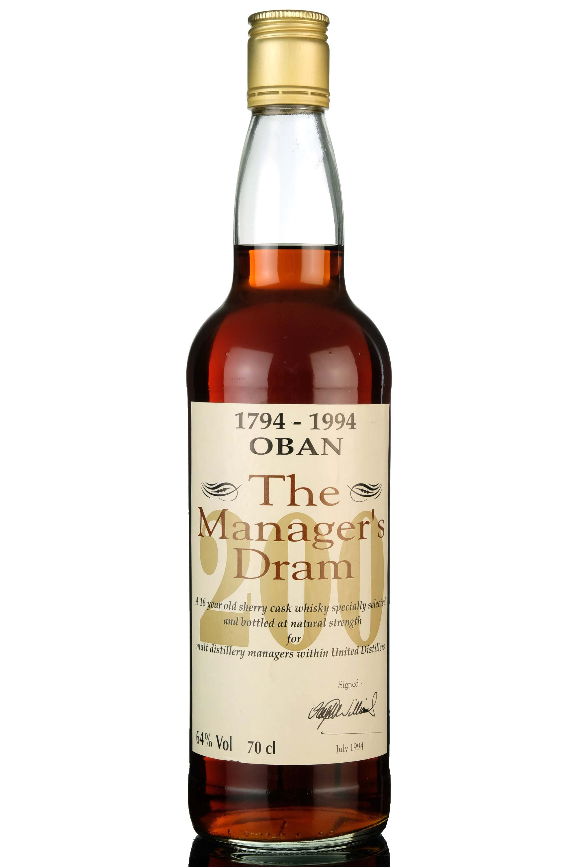 oban 16 year old - managers dram - bicentenary 1994