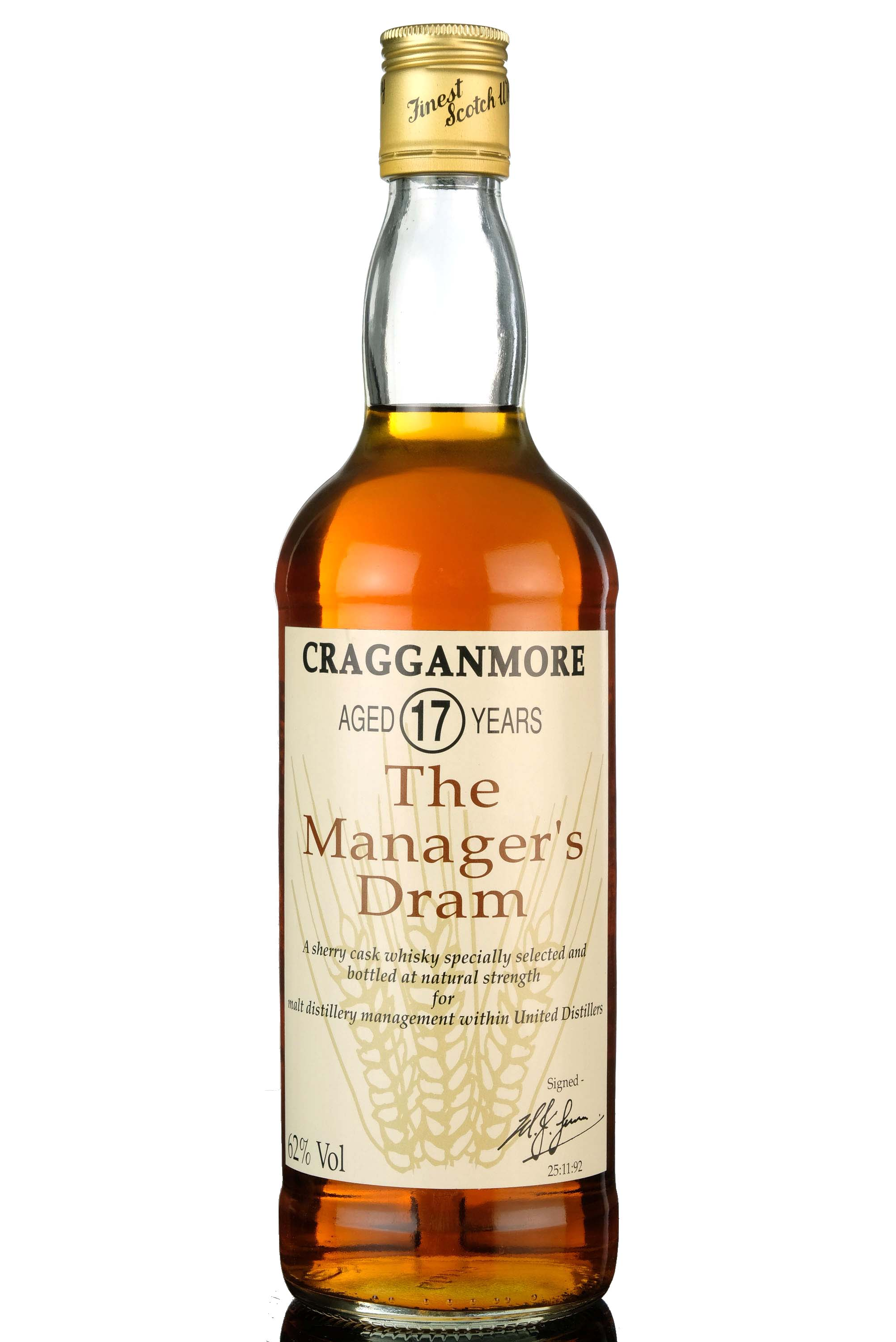cragganmore 17 year old - managers dram 1992