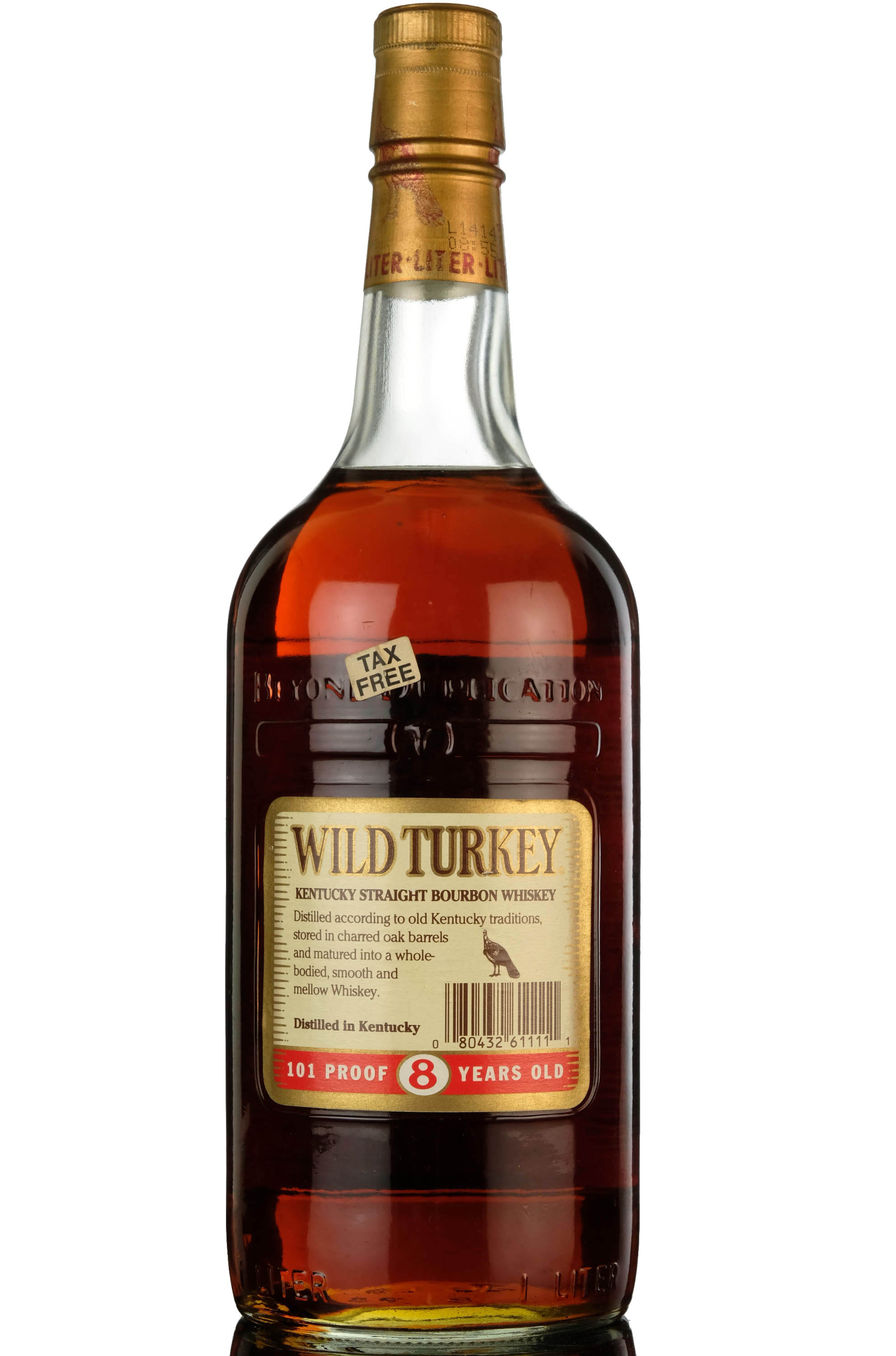 wild turkey 8 year old - kentucky straight bourbon whiskey - 101 proof - 1 litre