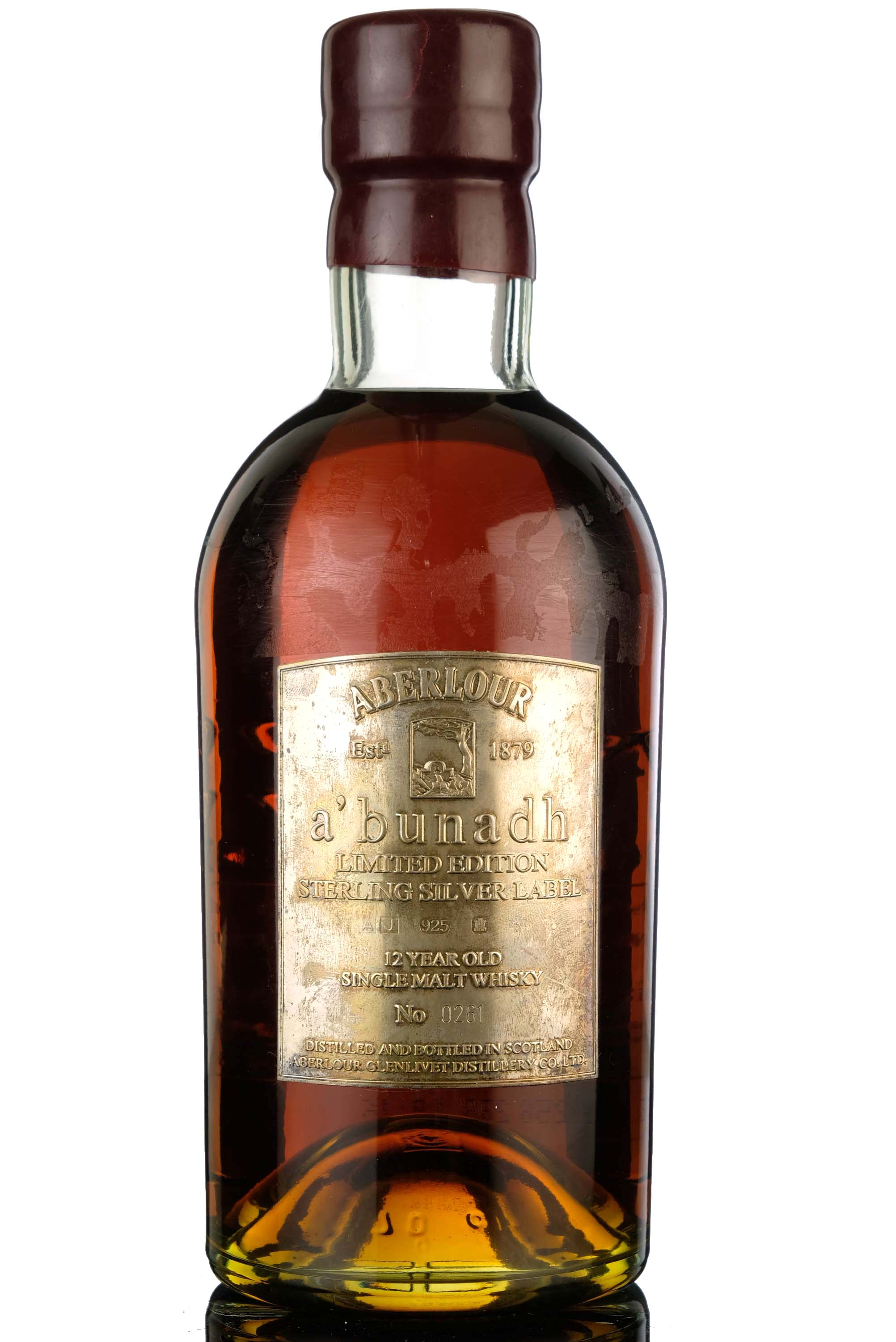 aberlour abunadh - 12 year old - sterling silver label