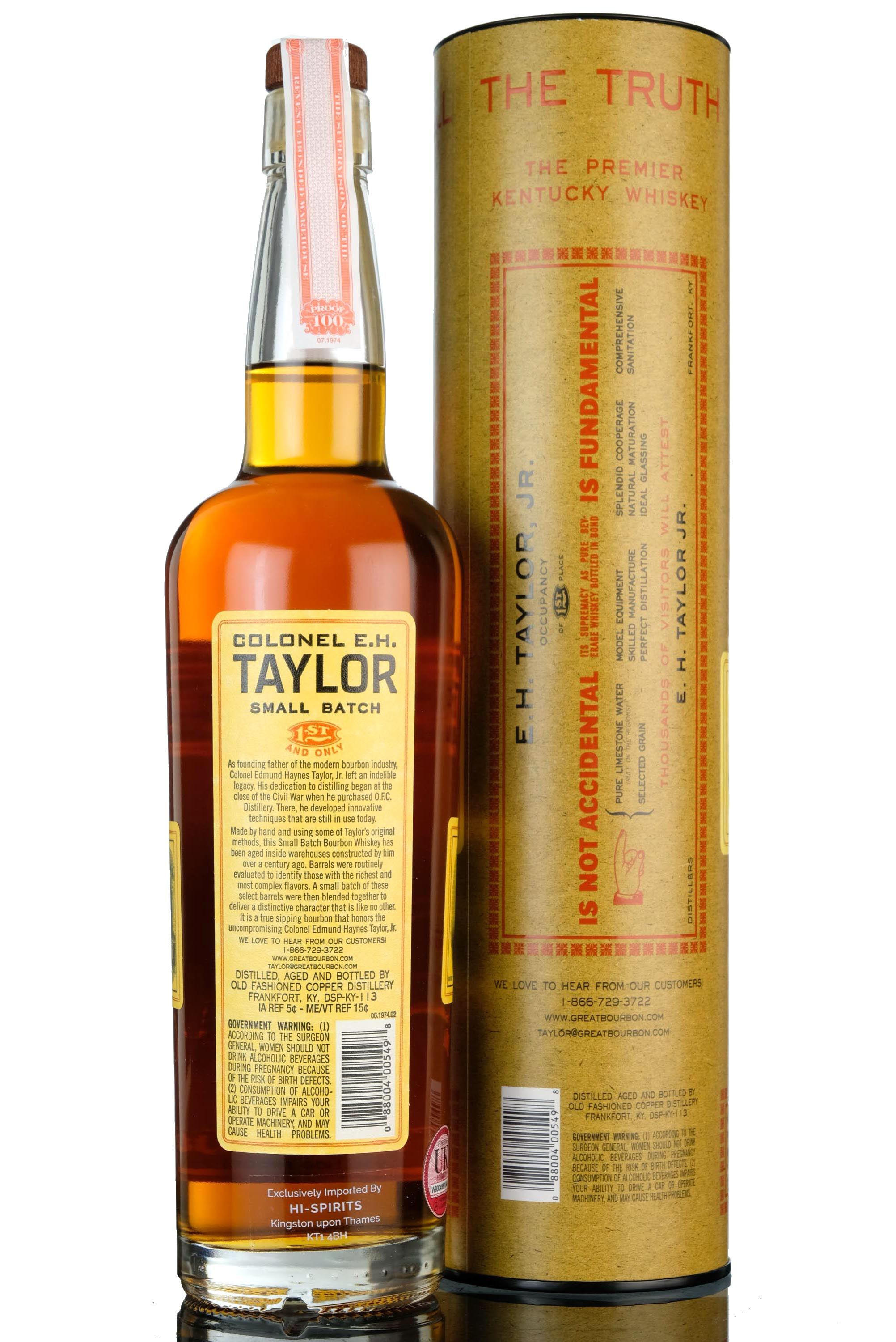 colonel e.h taylor 1st and only - straight kentucky bourbon whiskey