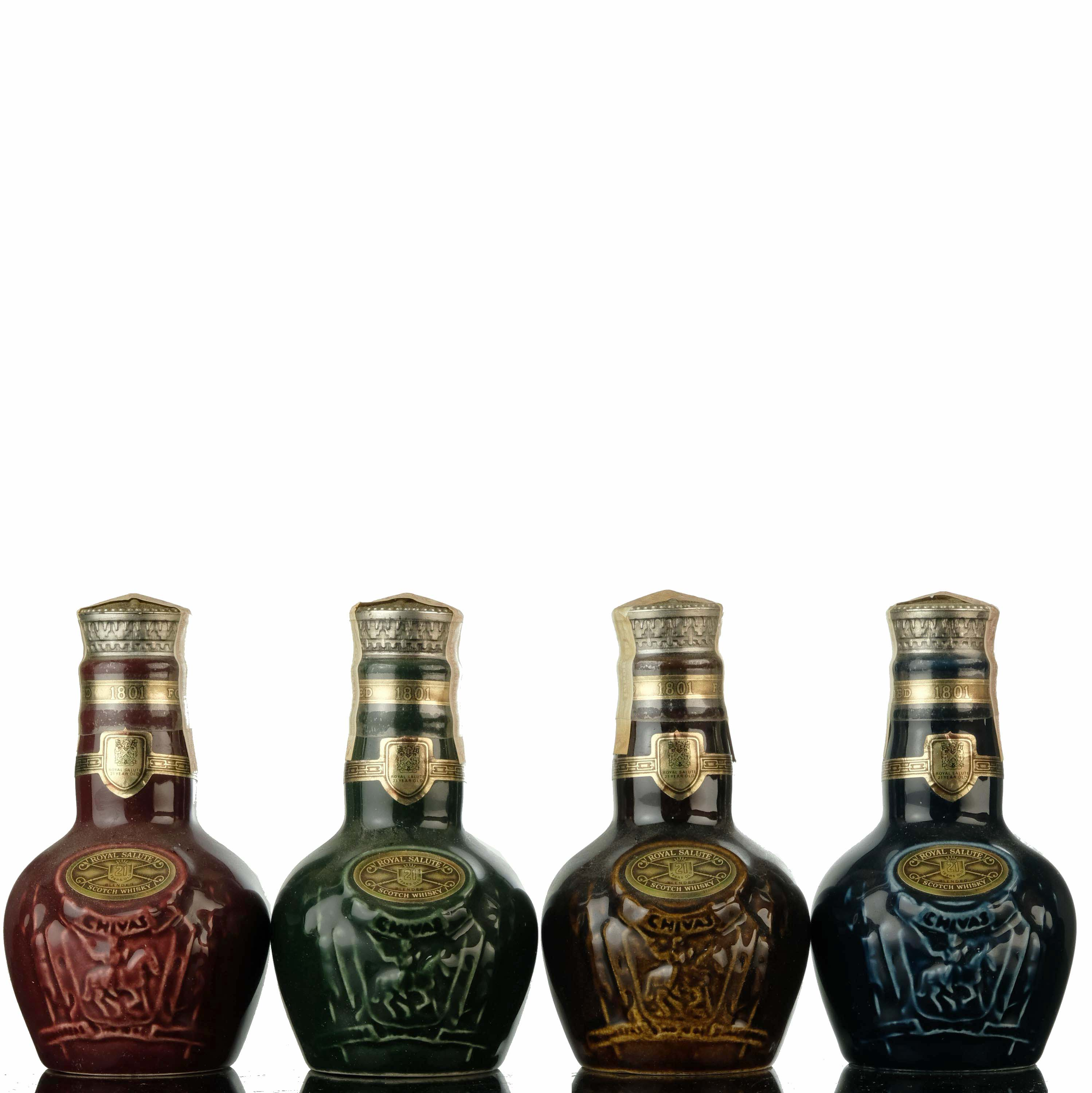 4 x royal salute 21 year old - miniatures