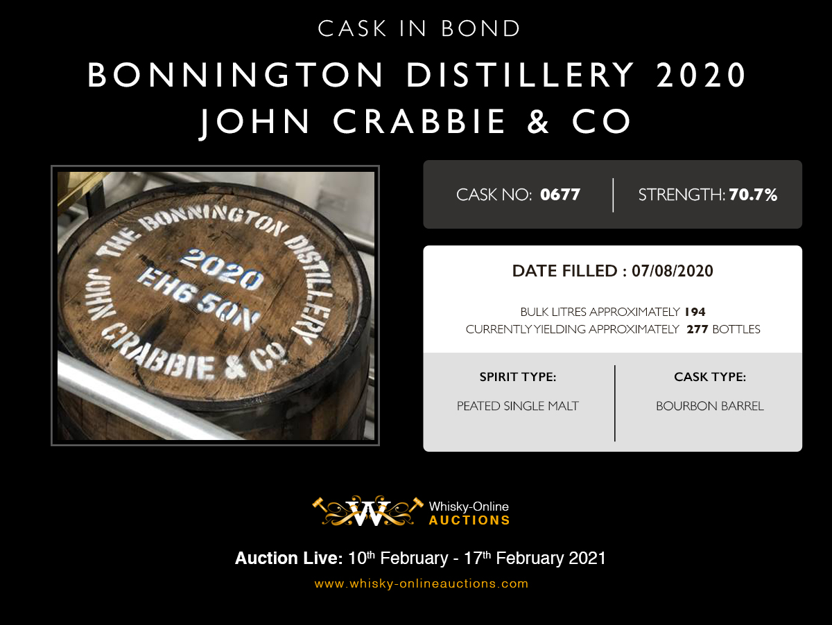 1 bourbon barrel of bonnington 2020 of peated single malt - cask 0677 - held in bond